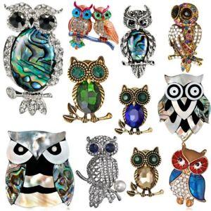 Vintage-Pearl-Shell-Rhinestone-Animal-Owl-Brooch-Pin-Women-Costume-Jewelry-Gift