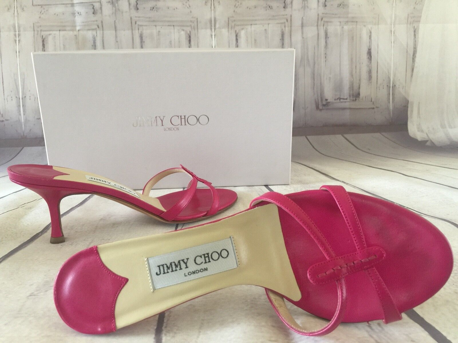 Jimmy CHOO womens Shoes PINK sexy Stilleto HEELS flip flop sandals BOX size 6 US