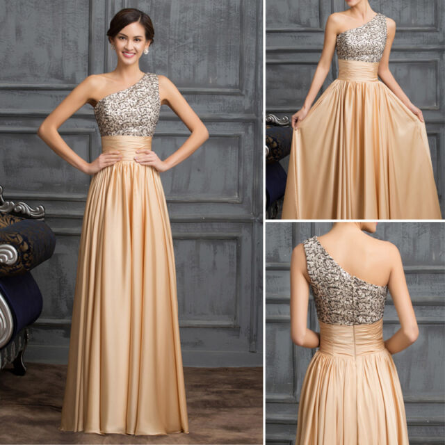 Long Formal Sequins Cocktail Gown Bridesmaid Evening Pageant Party Prom Dresses