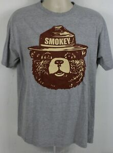 MENS SMOKEY THE BEAR FIRE DANGER VERY HIGH T-SHIRT BROWN PARK RETRO TEE TOP NEW