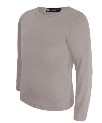 Kids Tee Plain Round Neck Basic Girls Top Boys Long Sleeve Slim Soft Shirt 3-14Y