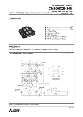 ES IGBT MODULE MITSUBISHI CM800DZB-34N 1700 V 800 a Dual Switch