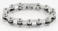 Womens Stainless Steel Silver Black Crystals Bike Chain Bracelet Usa Seller