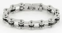 Womens Stainless Steel Silver Black Crystals Bike Chain Bracelet Usa Seller
