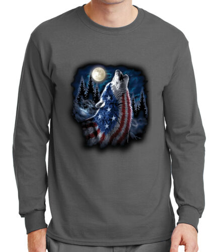 1668C Moon Night Wolf Mens Long Sleeve Tshirt USA American Flag on Wolf Tee