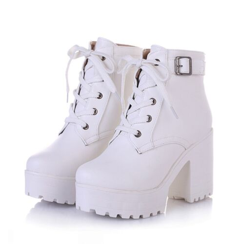 Fashion Women/'s Chunky Heel Punk Ankle Boots Lace Up Platform Goth Creeper Shoes