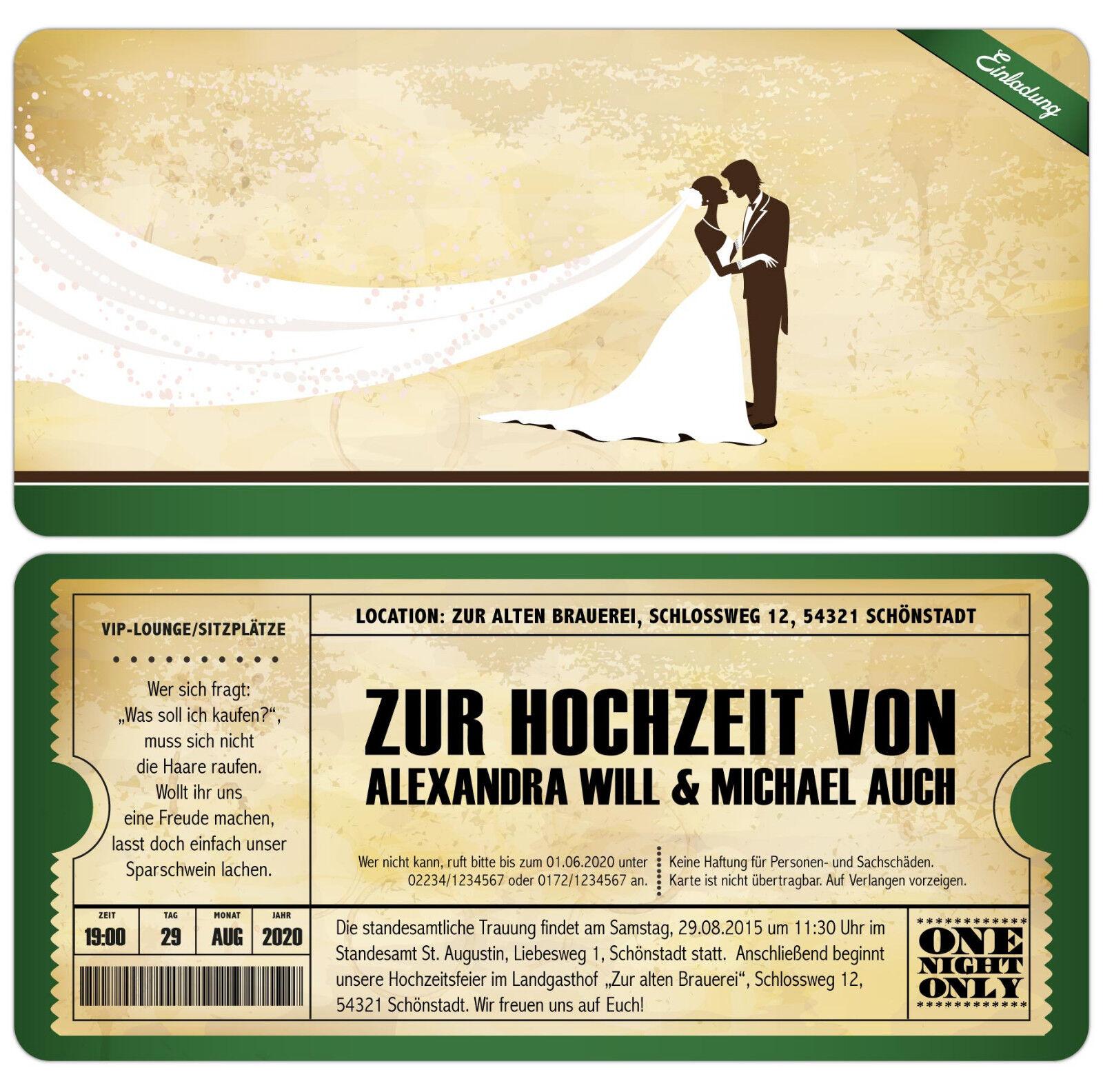 Einladungskarten zur Hochzeit als Eintrittskarte Vintage Retro Einladung Karte