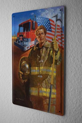 Tin Sign  USA Flag Fire Department Truck Firefighter Metal Plate