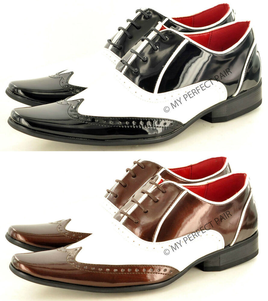 Noir Hommes Marron Blanc Funky Pointus Winkle Attrape Brogue Verni Chaussures Uk