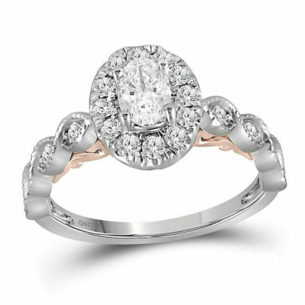 14kt Two-tone Gold Oval Diamond Solitaire Bridal Wedding