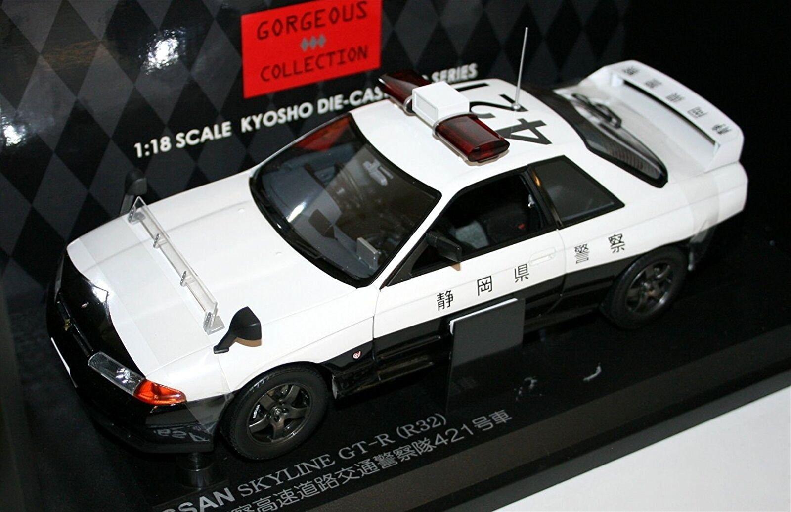 Kyosho Original 1 18 Nissan Skyline GT-R R32 Shizuoka policía Diecast kyos 08366B