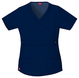 e322ebe6c94 Dickies 817355 Gen Flex Mock Wrap Scrub Top All Sizes & Colors XXS ...