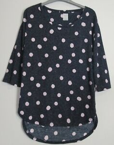 New-Marks-amp-Spencer-Collection-Spotted-3-4-Sleeve-Tunic-Top-Size-8-19