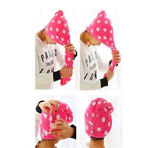 1X-Lady-Hair-Wrap-Head-Towel-Turbie-Turban-Twist-Drying-Cap-Loop-Button-Hat-FT