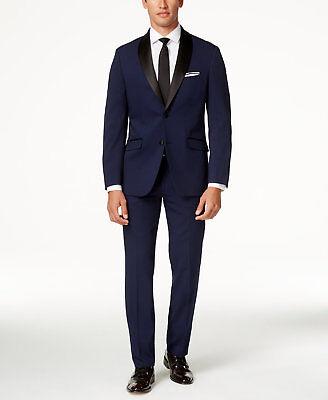 Perry Ellis Men Blue 2 Piece Slim Fit Suit Jacket Blazer Coat Pants