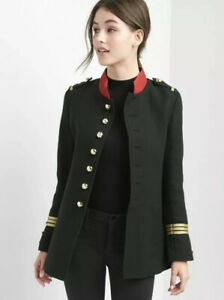 The-Gap-Womens-Military-Band-Suit-Jacket-Blazer-Black-Size-S-Wool-Blend-Y1