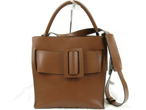 Authentic BOYY Devon 2 way hand bag leather brown