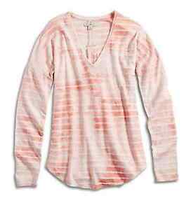 Lucky-Brand-XS-NWT-Coral-Pink-Tye-Dye-Striped-L-S-V-Neck-Tee-T-Shirt