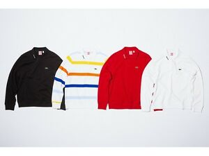 supreme x lacoste long sleeve jersey polo m red black box logo camp