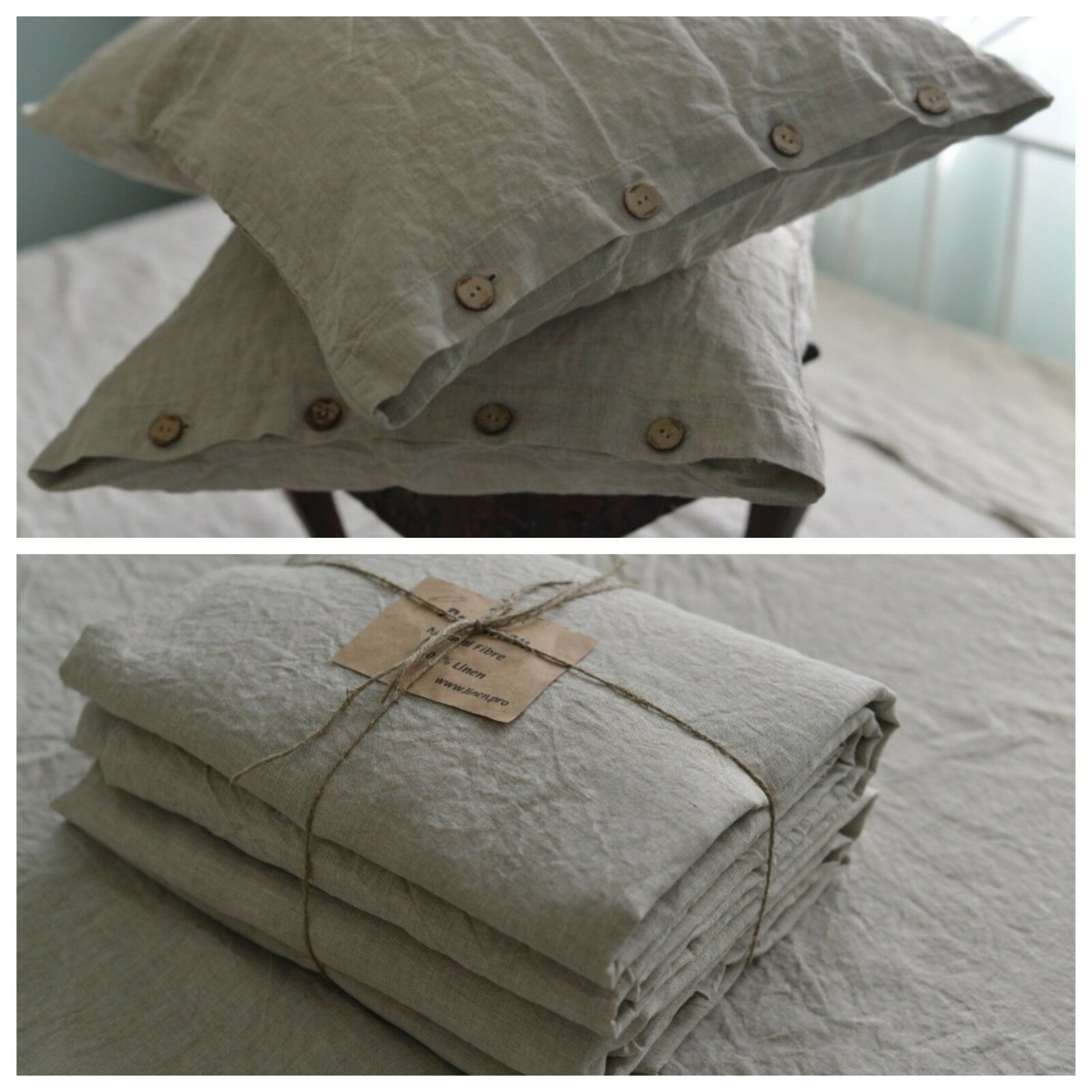Linen SHEET SET of 4pc Stone Washed sheets and two pillowcases BUTTON natural gr