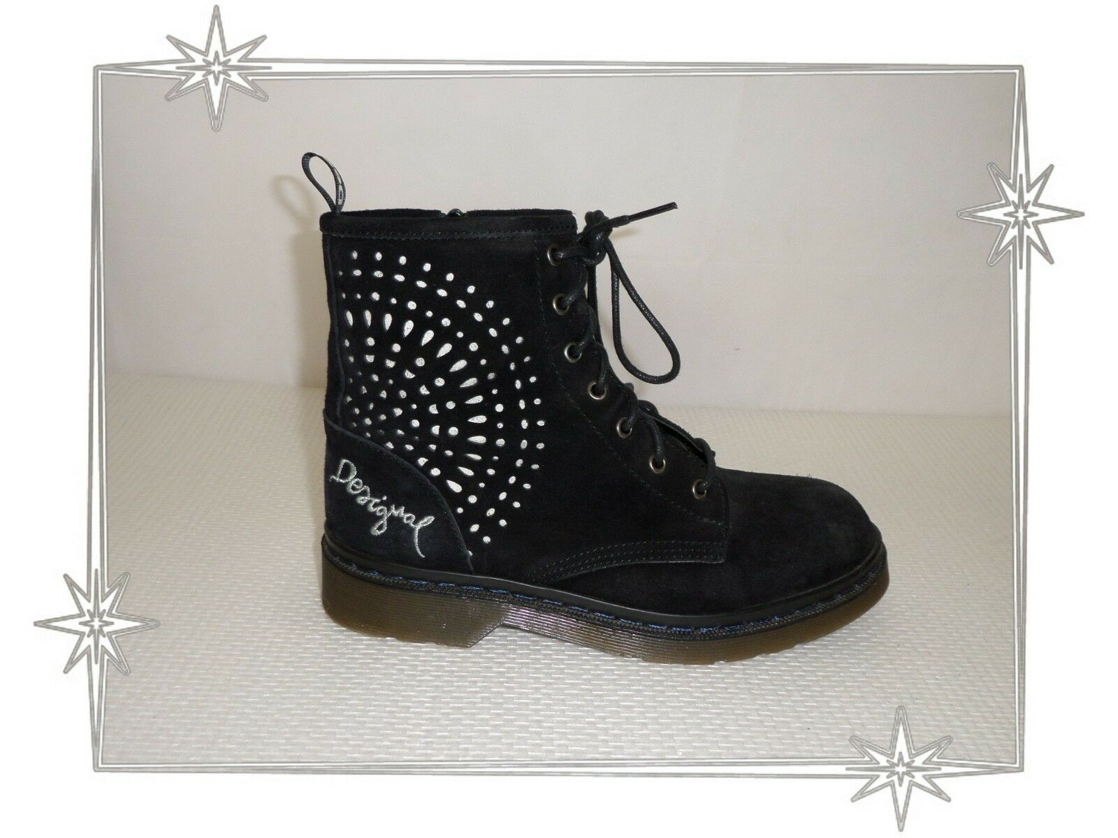 D  -  Bottines botas Fantaisies negroes  Daim Desigual Pointure 38