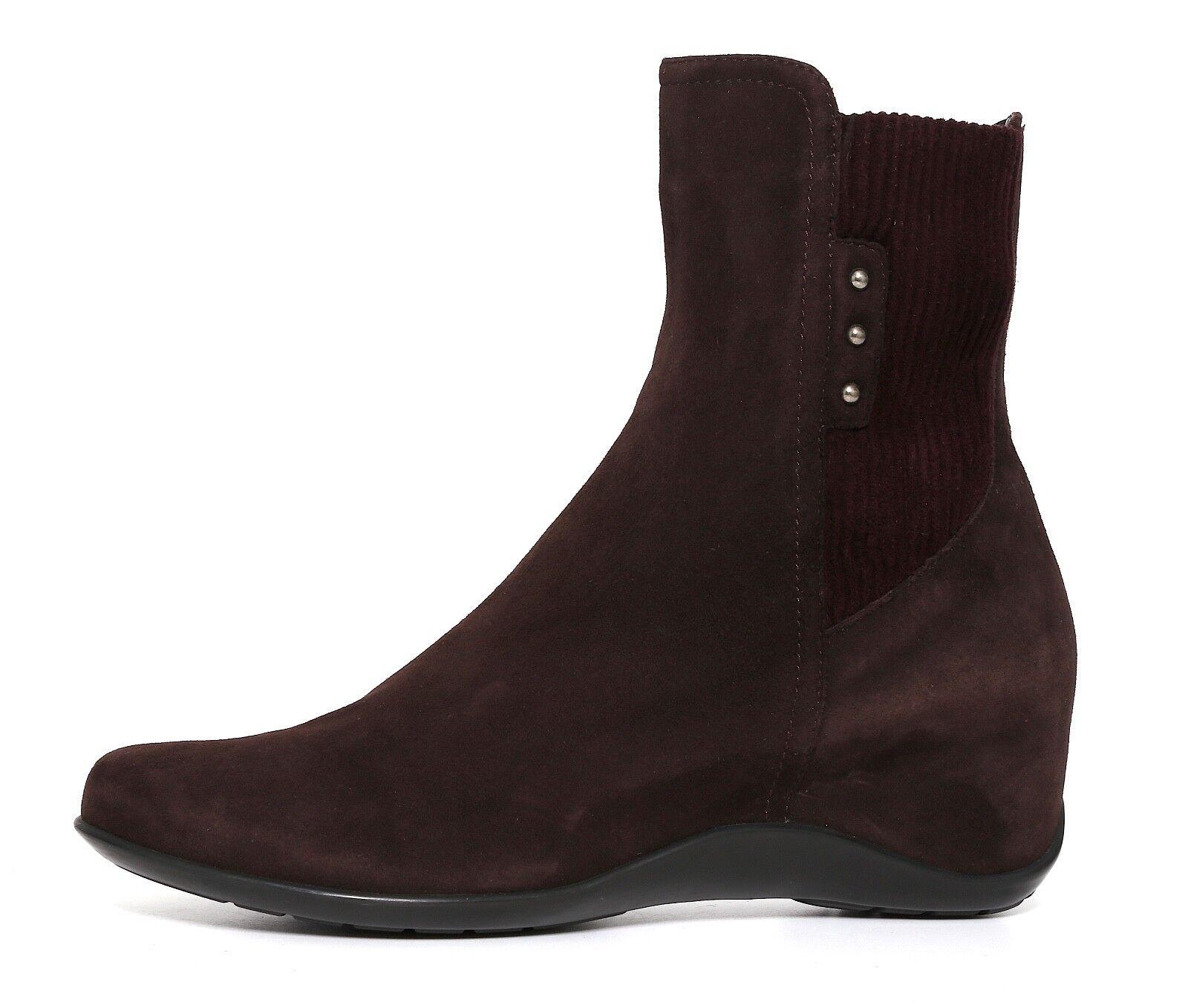 Aquatalia Versus Suede Wedge Ankle Boot Brown Donna Sz 7 6642 *