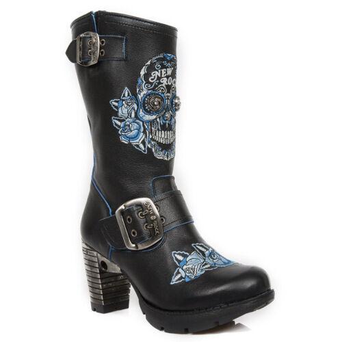New Rock señoras para mujer Trail tr047-s2 Azul Negro Calavera Bordado Botas De Cuero