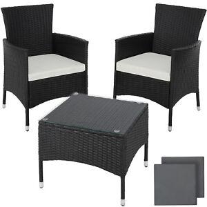 Détails sur En acier mobilier de Jardin Poly Rotin Salon de jardin en osier  2x Chaise de Table 1x noir- afficher le titre d\'origine