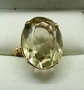 Vintage-18-Carat-Gold-Large-Citrine-Dress-Ring-Size-M