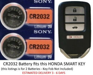 Honda Remote Key Fob Replacement Battery For Smart Key Sony Cr2032 2 Pack Ebay