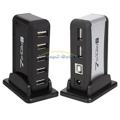 2x New 7 Port Hi-Speed USB 2.0 Hub +Power Adapter for PC Laptop