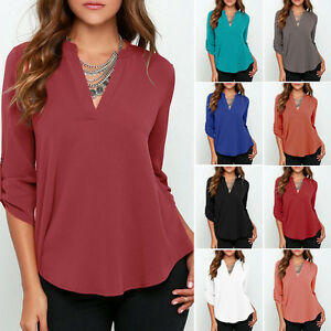 Plus-Size-Women-039-s-Casual-Top-Chiffon-Loose-Long-Sleeve-Blouse-Shirt-Blouse-Tops