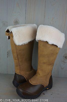 Ugg Miko Chestnut Leather Fur Trim Waterproof Knee High