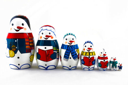 Snowmen Winter Snow Matryoshka Russian Nesting Wooden Dolls Stacking 7 Pcs