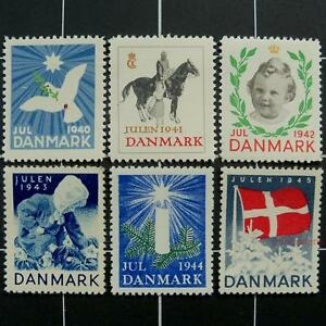 Danish-WW2-Christmas-stamps-1940-1945-MNH-Denmark-charity-labels-x-mas-seals