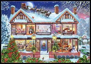 Christmas Cutaway House - Chart Counted Cross Stitch Pattern Needlework Xstitch