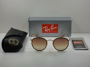 RAY-BAN ROUND BRIDGE SUNGLASSES RB3647N 001 7O GOLD COPPER FLASH ... 89cbb02e4d