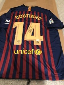 finest selection 049e5 9b4db Details about PHILIPPE COUTINHO Signed FC BARCELONA #14 NIKE Jersey BECKETT  COA AUTO Autograph