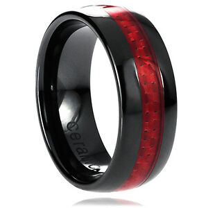 Image Is Loading 8mm Men 039 S Ceramic Black With Red