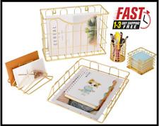 5pc Desk Organizer Set Hanging File Organizer File Tray Letter Sorter Pen Holder