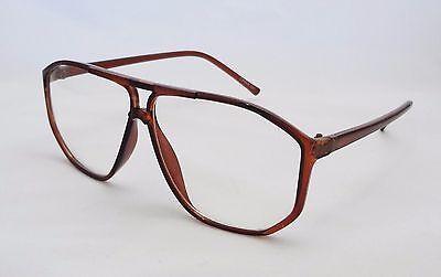 Eyewear Clear Lens Glasses BROWN Frame Unisex Men's Women's Trendy Aviator New