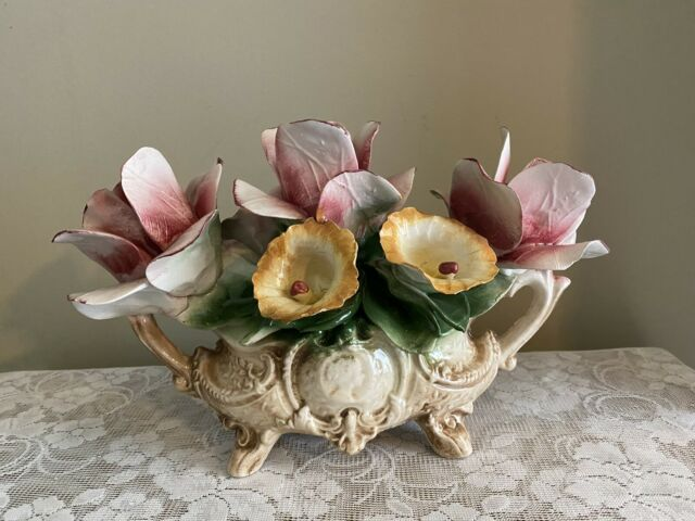 Vintage Large Porcelain Rose Centerpiece Capodimonte Italy Pink Yellow Flower