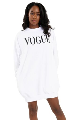 New Women Vogue Slogan Print Baggy Oversized Side Pockets Sweatshirt Tunic Dress