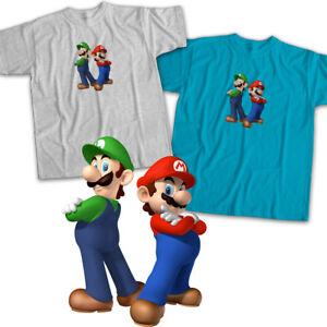 Super-Mario-Bros-Luigi-Brothers-Video-Gamer-Mens-Womens-Kids-Unisex-Tee-T-Shirt