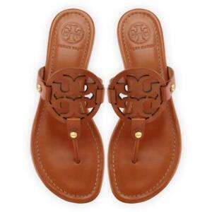 66d636e97 NIB Tory Burch Miller Leather Logo Flat Slide Sandal VINTAGE ...