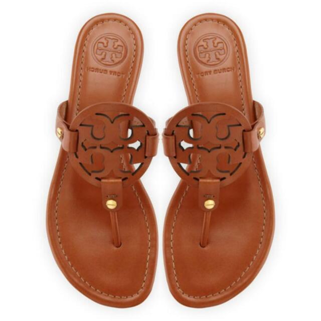 c5512848d NIB Tory Burch Miller Leather Logo Flat Slide Sandal VINTAGE VACHETTA BROWN  TAN