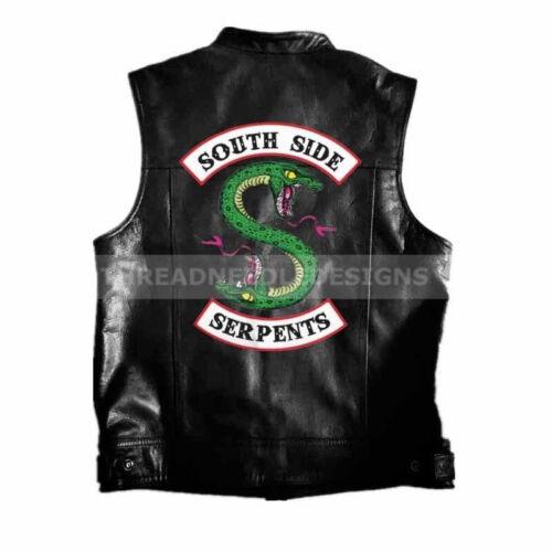 Riverdale South Side Serpents Harley Leather Vest Men Fashion Motorcycle Jacket