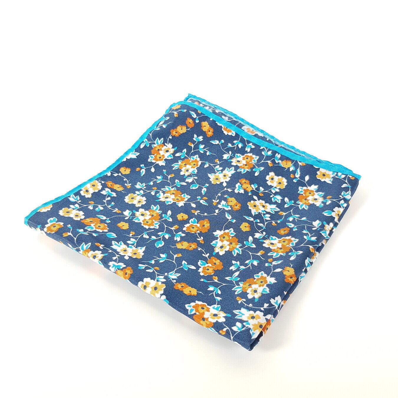 Bäumler Einstecktuch Seide Blau Orange Satin Tuch Blumen-Muster 32x32 cm Neu