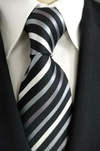 Venti Anlass // Business Krawatte schwarz-weiß-grau gestreift TOP Seide NEU