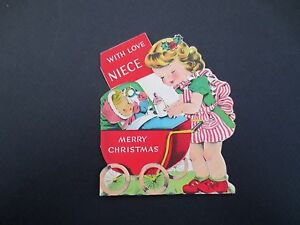 #L118- Vintage Die Cut Xmas Greeting Card Sweet Girl Playing Paper Baby Doll